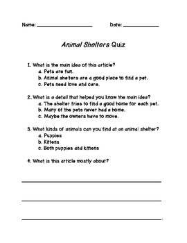 Best Practices Animal Shelters Quiz