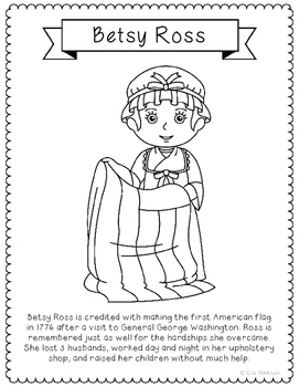 Betsy Ross Coloring Page Activity with Biography, American