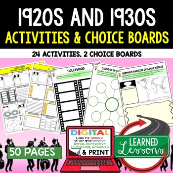 Between Two Wars 1920s 1930s Choice Board Activities (Pape
