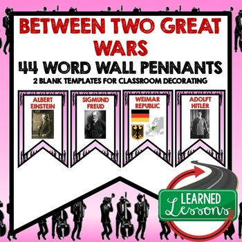Between Two Wars (1920s and 1930s) Word Wall Pennants (Wor