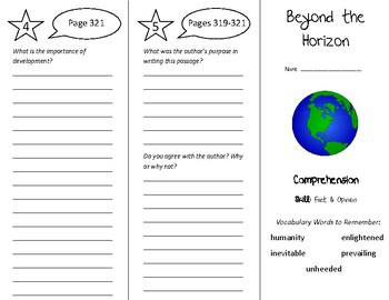 Beyond the Horizon Trifold - Treasures 5th Grade Unit 3 We