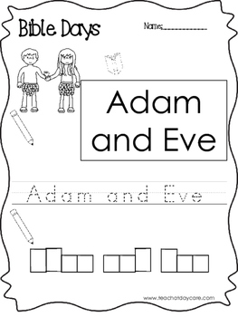 Bible Days Adam and Eve Read, Trace, and Write Worksheet.