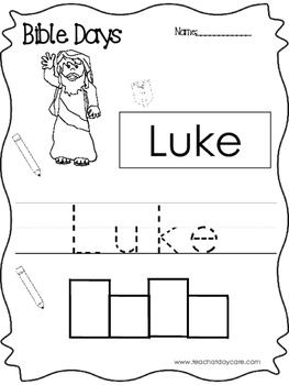 Bible Days Luke Read, Trace, and Write Worksheet. Preschoo