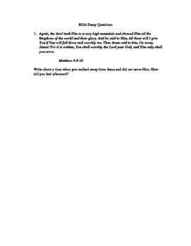 Bible Essay Questions