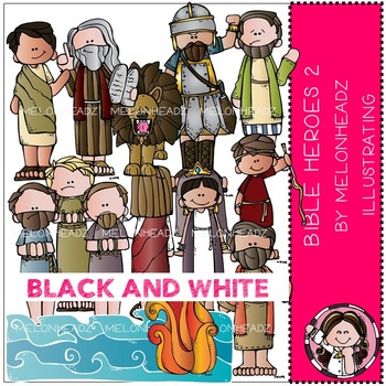 Melonheadz: Bible Heroes clip art Part 2 - BLACK AND WHITE