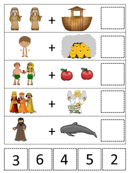 Bible Math Addition Printable Christian Game Download. Pre