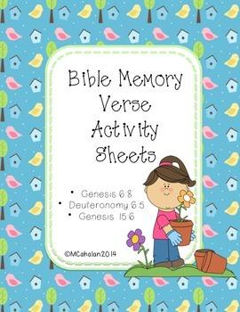 Bible Memory Verse Activity Sheets