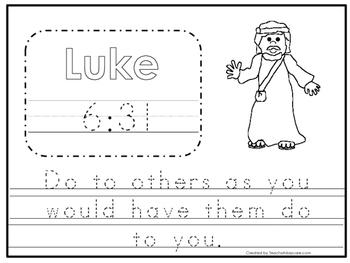 Bible Verse Luke 6:31 Tracing Worksheet. Preschool-KDG. Bi