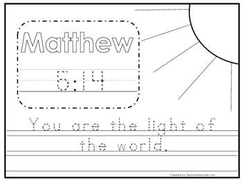 Bible Verse Matthew 5:14 Tracing Worksheet. Preschool-KDG.