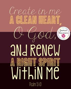 Bible Verse Poster: Psalm 51:10