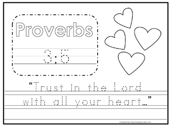 Bible Verse Proverbs 3:5 Tracing Worksheet. Preschool-KDG.