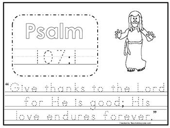 Bible Verse Psalm 107:1 Tracing Worksheet. Preschool-KDG.