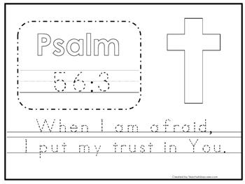 Bible Verse Psalm 56:3 Tracing Worksheet. Preschool-KDG. B