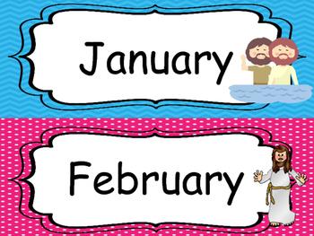 Bible themed Month Labels. Preschool-Kindergarten Bible bu