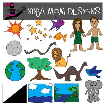 Bible Story Clip Art- Creation in Color and Black Line