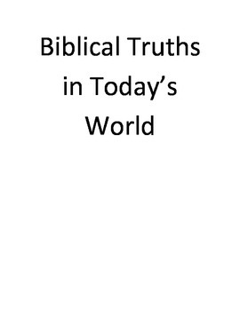 Biblical Truths In Today's World