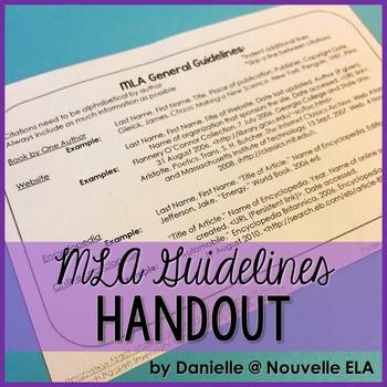 MLA Bibliography Cheat Sheet