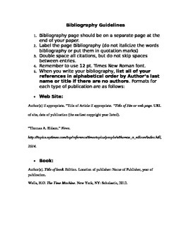 Bibliography Guidelines ~FREEBIE~