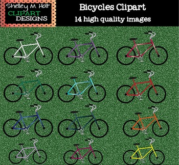 Bicycles Clipart - Color and Black/White