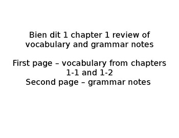 French Bien dit 1 chapter 1 review of vocabulary and gramm