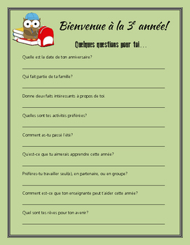 FRENCH Back to School Student Questionnaire - Bienvenue!
