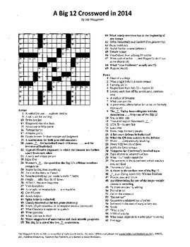 "Big 12 Conference Crossword Puzzle, 2014, some ""sporting"""