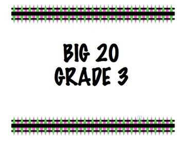 Big 20 - Grade 3 - Progress Monitoring