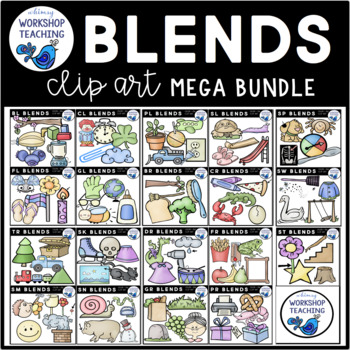 Big Blends Bundle Phonics Clip Art - Whimsy Workshop Teaching