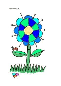 Elemantary Visual Art Project - Big Blue Flower