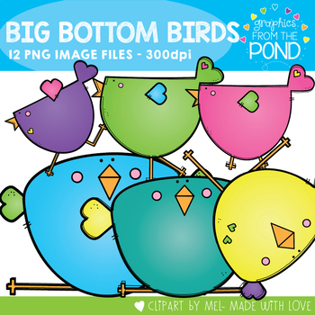 Big Bottom Birds Clipart Set