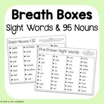 Big Breath Boxes: Dolch Words (Pre-Primer-3rd grade & Nouns)