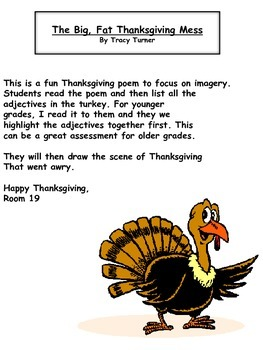Big Fat Thanksgiving Mess Poem. Great great for imagery an