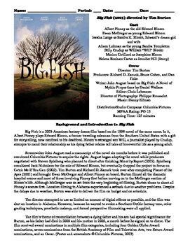 Big Fish Film (2003) Study Guide Movie Packet