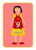 Big French Numbers 0 to 10  Flashcards .Cute dolls picture