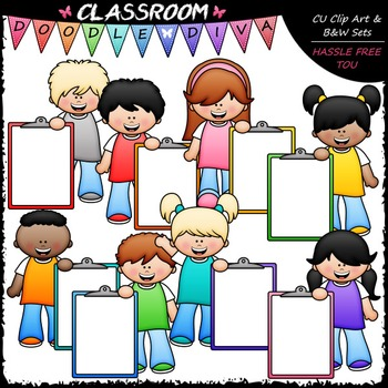 Big Grin Clipboard Kids Clip Art - Kids With Clipboards Cl