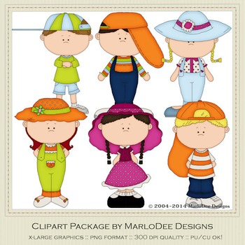 Big Hat Kids Clip Art Graphics Set 1 by MarloDee Designs