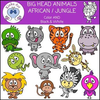 Big Head Animals (African / Jungle) Clip Art