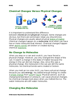 Big Idea 9 Chemical Vs Physical Change Article & Comprehen
