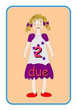 Big Italian Numbers 0 to 10  Flashcards .Cute dolls pictur