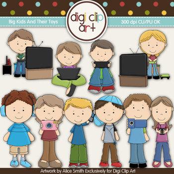 Big Kids And Their Toys -  Digi Clip Art/Digi Stamps - CU