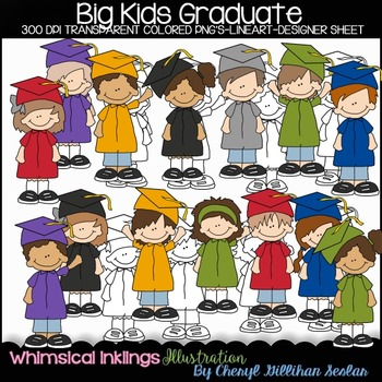 Big Kids Graduate Clipart Collection
