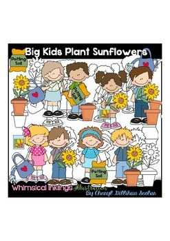 Big Kids Plant Sunflowers Clipart Collection