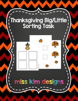 Big / Little Thanksgiving Sorting Task for Early Childhood