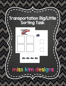 Big / Little Transportation Sorting Task for students with Autism