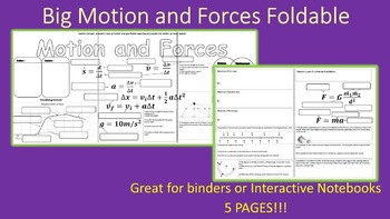 Big Motion and Forces Review Foldable for Interactive Note