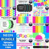 Big Neon Bundle! ~ Papers, Frames, Buntings & Alphas