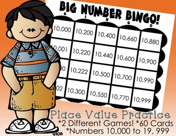 Place Value Bingo: Five Digit Numbers, 2 Different Games Included