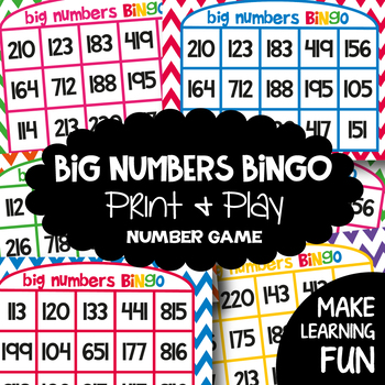 Numbers - Big Numbers Bingo - A Printable Game for Numeral