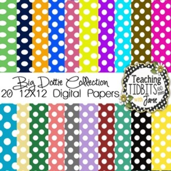 Digital Papers - Big Polka Dot Collection {12X12 for Perso
