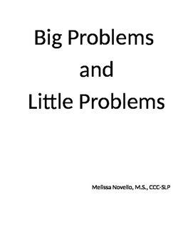 Big Problems and Little Problems Social Story and activity